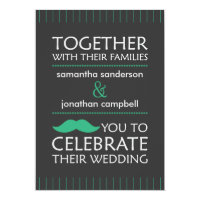 Funny Green Mustache Wedding Invitations