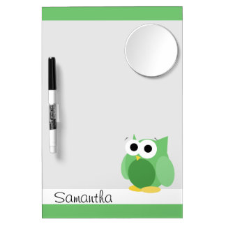 Funny Green Owl - Dry Erase Board with Mirror