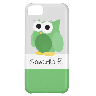 Funny Green Owl - Personalized iPhone 5 Case