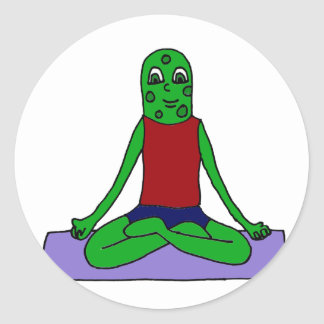 Funny Green Pickle Doing Yoga Classic Round Sticker