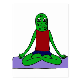 Funny Green Pickle Doing Yoga Postcard