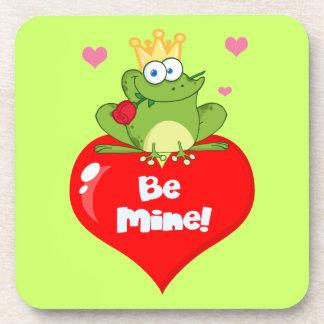 FUNNY GREEN PRINCE FROG RED HEART LOVE ROSES FLIRT BEVERAGE COASTER