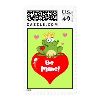 FUNNY GREEN PRINCE FROG RED HEART LOVE ROSES FLIRT POSTAGE