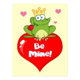 FUNNY GREEN PRINCE FROG RED HEART LOVE ROSES FLIRT POSTCARD