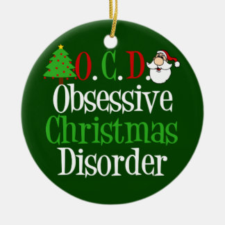 Funny Green Red Christmas Obsessed Ceramic Ornament