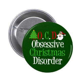 Funny Green Red Christmas Obsessed Pinback Button