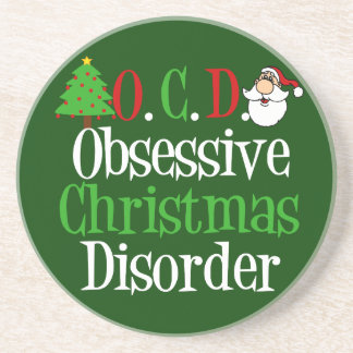 Funny Green Red Christmas Obsessed Sandstone Coaster