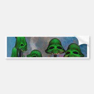 Funny green skull mushrooms mit flowers in a cave car bumper sticker