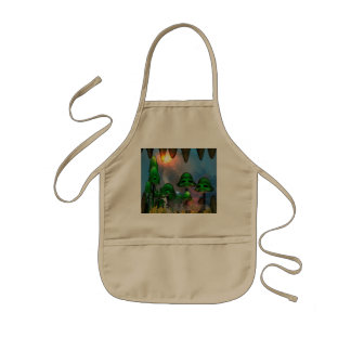 Funny green skull mushrooms mit flowers in a cave kids' apron