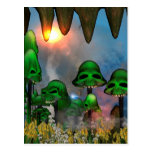 Funny green skull mushrooms mit flowers in a cave postcard