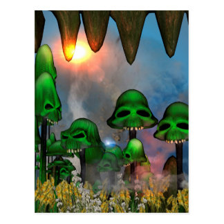 Funny green skull mushrooms mit flowers in a cave postcards