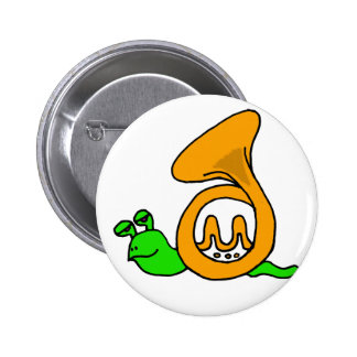 Funny Green Snail with French Horn Shell Pinback Button