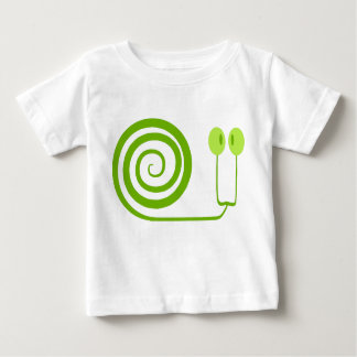 Funny green snail with great spiral and eyes baby T-Shirt