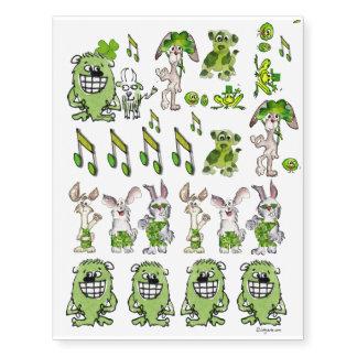 Funny Green St. Patricks Day Cartoons Temporary Tattoos