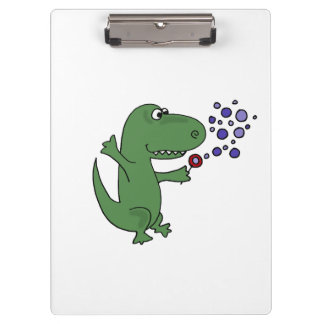 Funny Green T-Rex Dinosaur Blowing Bubbles Clipboard