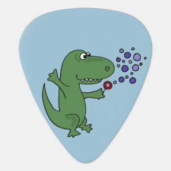 Funny Green T-rex Dinosaur Blowing Bubbles Guitar Pick by patcallum at Zazzle