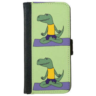 Funny Green T-Rex Dinosaur Doing Yoga Wallet Phone Case For iPhone 6/6s