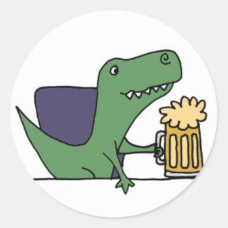 Funny Green T-Rex Dinosaur Drinking Beer Classic Round Sticker