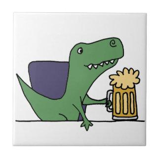 Funny Green T-Rex Dinosaur Drinking Beer Tile