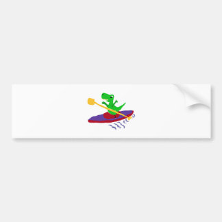Funny Green T-Rex Dinosaur Kayaking Bumper Sticker