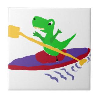 Funny Green T-Rex Dinosaur Kayaking Ceramic Tile