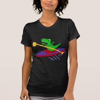 Funny Green T-Rex Dinosaur Kayaking T-Shirt