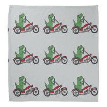 Funny Green T-rex Dinosaur on Motorcycle Bandana