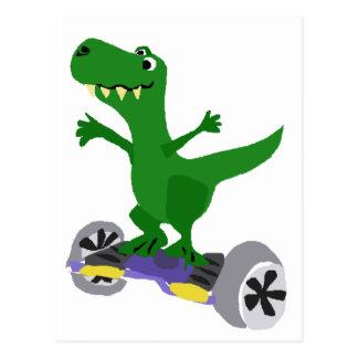 Funny Green T-Rex Dinosaur on Motorized Skateboard Postcard
