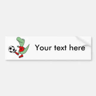 Funny Green T-rex Dinosaur Playing Soccer Bumper Sticker