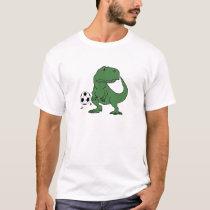 Funny Green T-rex Dinosaur Playing Soccer T-Shirt