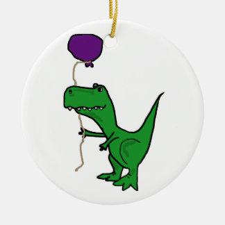 Funny Green Trex Dinosaur Holding Balloon Ceramic Ornament