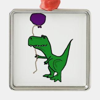 Funny Green Trex Dinosaur Holding Balloon Metal Ornament