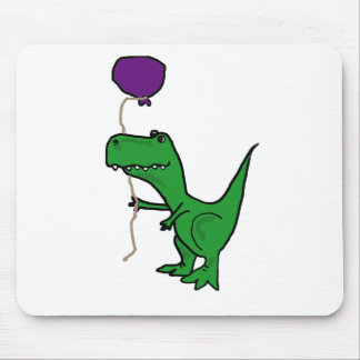 Funny Green Trex Dinosaur Holding Balloon Mouse Pad