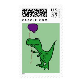 Funny Green Trex Dinosaur Holding Balloon Postage Stamp