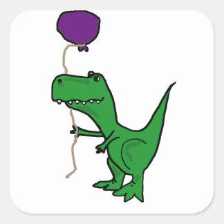 Funny Green Trex Dinosaur Holding Balloon Square Sticker