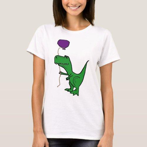 Funny Green Trex Dinosaur Holding Balloon T_Shirt