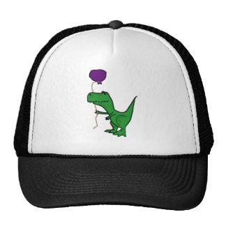 Funny Green Trex Dinosaur Holding Balloon Trucker Hat