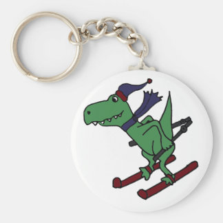 Funny Green Trex Dinosaur Skiing Keychains