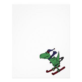 Funny Green Trex Dinosaur Skiing Letterhead