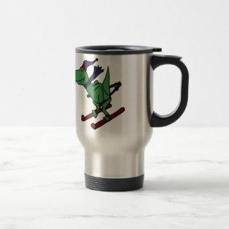 Funny Green Trex Dinosaur Skiing Travel Mug