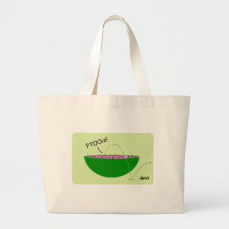 Funny Green Watermelon and Black Seeds Cartoon Large Tote Bag
