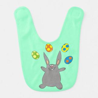 Funny Grey Bunny Juggling Easter Eggs Baby Bib