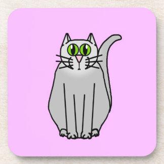 Funny grey cartoon cat beverage coaster