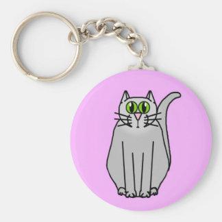 Funny grey cartoon cat key chain