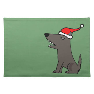 Funny Grey Dog in Santa Hat Christmas Art Place Mats