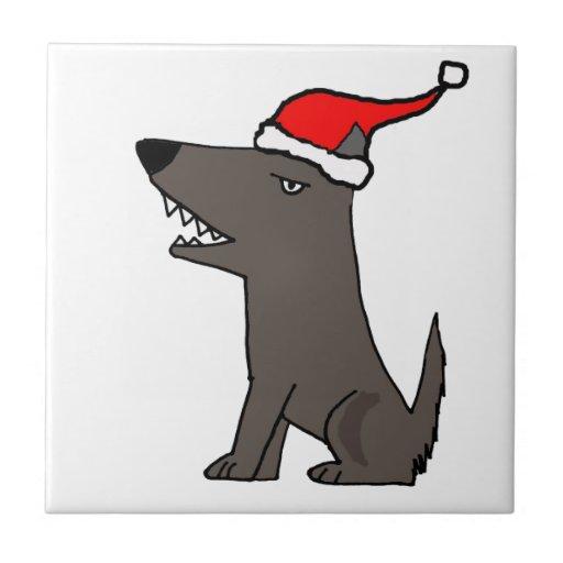 Funny Grey Dog in Santa Hat Christmas Art Tile