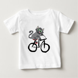 Funny Grey Kitty Cat Riding Bicycle Baby T-Shirt