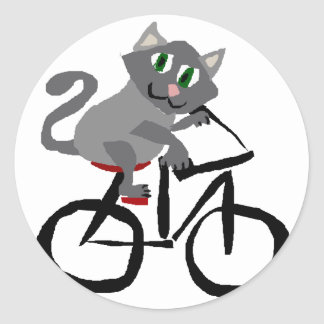 Funny Grey Kitty Cat Riding Bicycle Classic Round Sticker