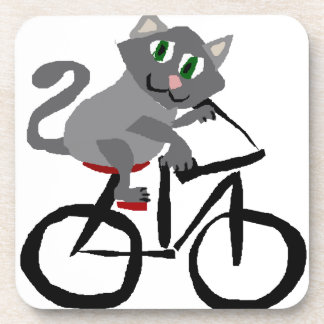 Funny Grey Kitty Cat Riding Bicycle Coaster