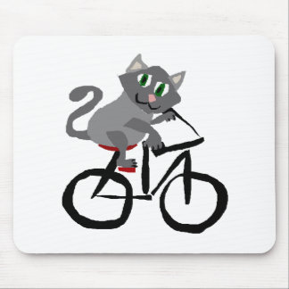 Funny Grey Kitty Cat Riding Bicycle Mouse Pad